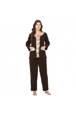 9teenAGAIN Women's Fleece Nightsuit (Brown & Beige)