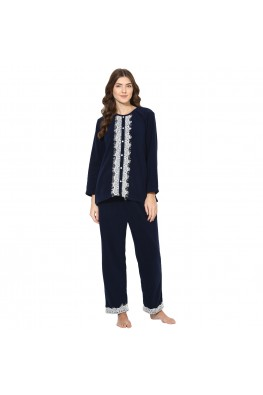 9teenAGAIN Women's Fleece Nightsuit (Navy)