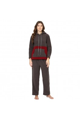 9teenAGAIN Women's Fleece Nightsuit (Grey & Maroon)