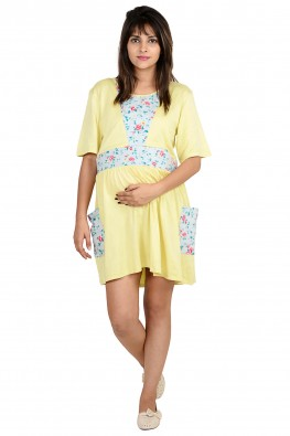 Solid And Print Patch Night Wear Dress