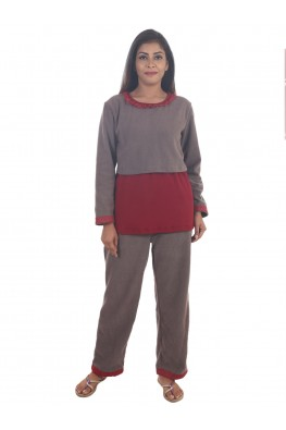 9teenAGAIN Women's Fleece Nursing Nightsuit (Grey & Maroon)