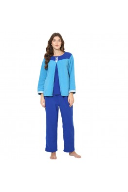 56598c5db9 9teenAGAIN Women s Fleece Nursing Nightsuit (Light Blue)