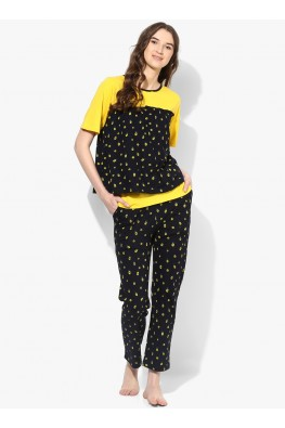 9teenAGAIN Women's Hosiery Nursing Nightwear set(Black & Yellow)