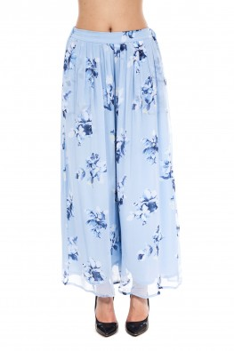 9teenAGAIN Powder blue floral print georgette pants