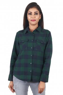 9teenAGAIN Women's Plaid Woolen Checks Casual Shirt
