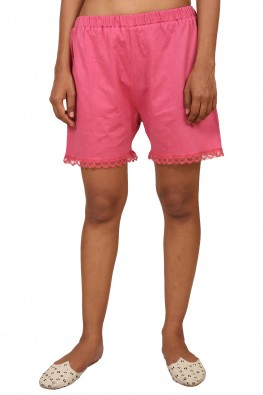 9teenAGAIN Women's Cotton Pink Lace Short(Pink, Extra Small)