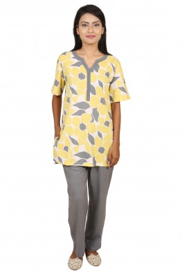 9teenAGAIN Women's Floral Print Hosiery Nightsuit(Yellow & Grey)