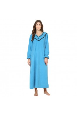 9teenAGAIN Women's Fleece Winterwear Nighty (Blue)
