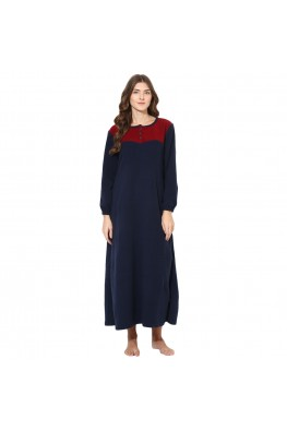 9teenAGAIN Women's Fleece Winterwear Nighty (Navy Blue & Maroon)