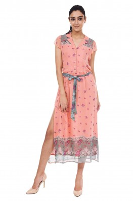 9TEENAGAIN  PEACH PRINTED DRESS