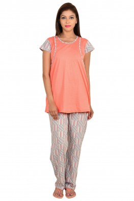 9teenagain overlap peach and grey nursing night suit set