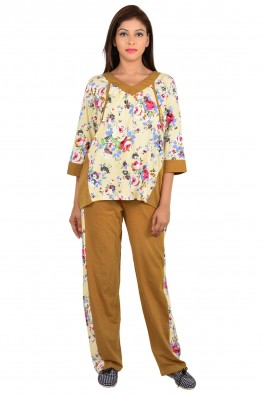 9teenagain mustard and floral printed nursing top and pajama set