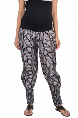 9TEENAGAIN BLACK PRINTED MATERNITY SHEERED TROUSERS