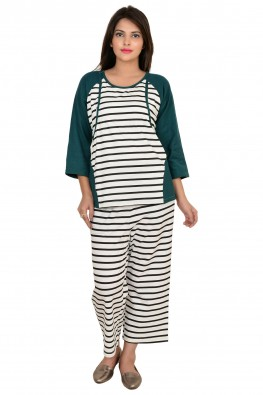 9TEENAGAIN STRIPED NURSING NIGHT SUIT
