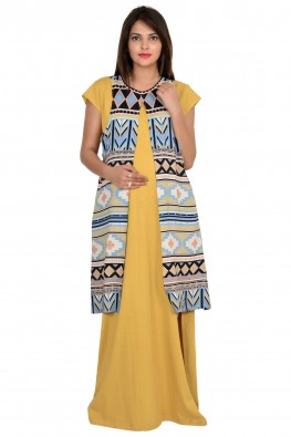 9TEENAGAIN  MATERNITY  MAXI DRESS WITH PRINTED SHRUG