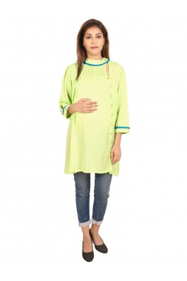 9TEENAGAIN GREEN PLEATED MATERNITY TOP