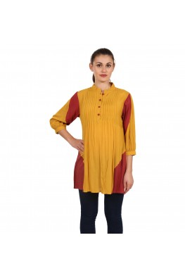 9teenAGAIN Women's Rayon Maternity Top (Yellow & Red)