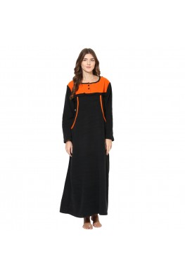 9teenAGAIN Women's Fleece Winterwear Nursing Nighty (Black & Orange)