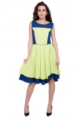 9teenagain bright-green solid dress with schiffli