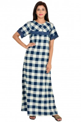 Navy Checkered Maxi Nightdress