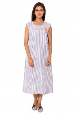 BLUE STRIPED CALF LENGTH NIGHTY