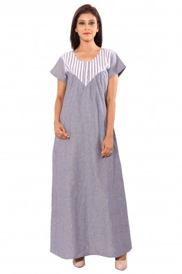 SOLID BLUE WITH STRIPED YOKE NIGHT GOWN