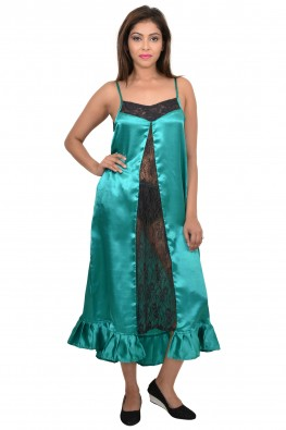9TEENAGAIN BLACK CHANTILLY FRONT PANEL GREEN SATIN NIGHTY