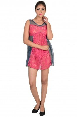 9TEENAGAIN PINK AND GREY BABYDOLL