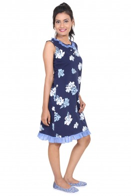9TEENAGAIN FLORAL PRINTED NAVY HOSIERY  SHORT NIGHT DRESS