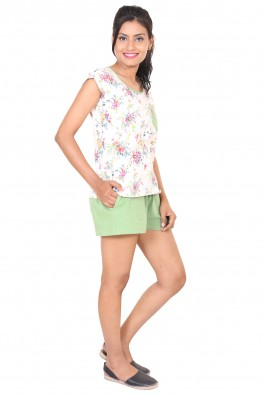 9TEENAGAIN FLORAL PRINTED GREEN HOSIERY NIGHTWEAR SET