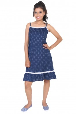 9TEENAGAIN POLKA DOTS SPAGHETTI NIGHT DRESS