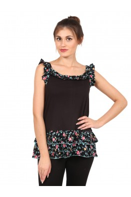 9teenAGAIN Women's  Plain & Printed Hosiery Top (Black)