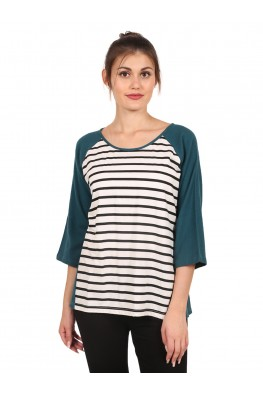 9teenAGAIN Women's Black Striped Hosiery Top (Teal & Black & White)