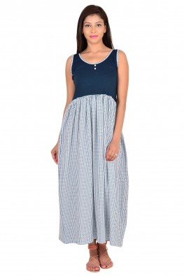 solid and printed sleeveless nighty