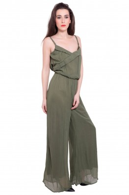 9teenagain khaki jumpsuit with a braided straps