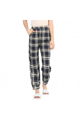 9teenAGAIN Women's Hosiery Checkered Pyjama (Black)