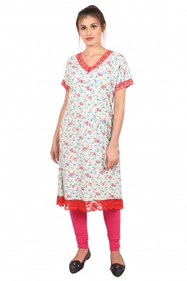 9teenAGAIN Women's Hosiery Kurti (Mint & Red)