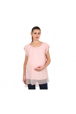 9teenAGAIN Women's Chiffon Maternity Top (Light Pink)