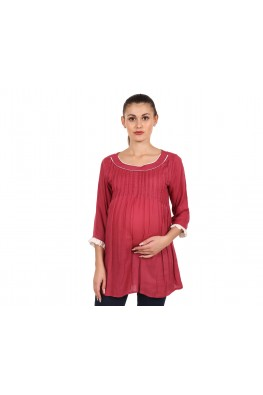 9teenAGAIN Women's Crepe Maternity Top (Maroon)