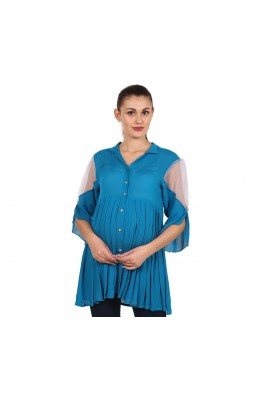 9teenAGAIN Women's Rayon Crepe Maternity Top (Dark Blue)