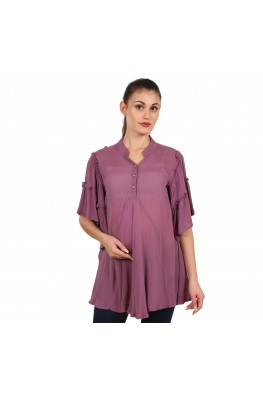 9teenAGAIN Women's Rayon Crepe Maternity Top (Purple)