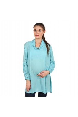 9teenAGAIN Women's Rayon Crepe Maternity Top (Light Blue)