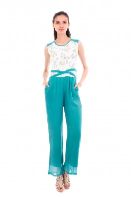 Full Length Jumpsuit with Print Detailing