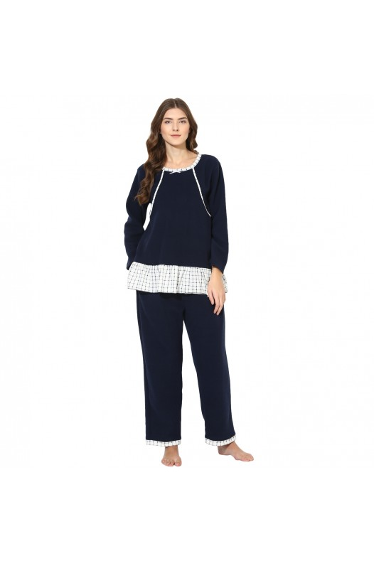 9teenAGAIN Women's Fleece Nursing Nightsuit (Navy & White)