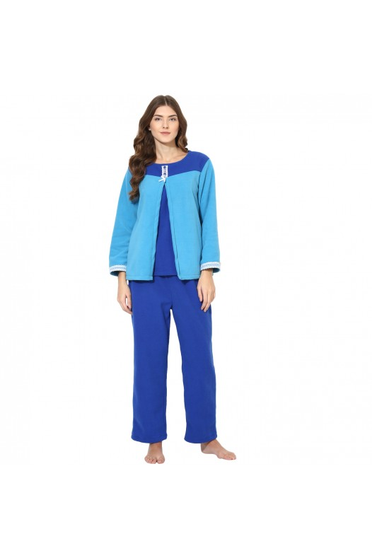 9teenAGAIN Women's Fleece Nursing Nightsuit (Light Blue)
