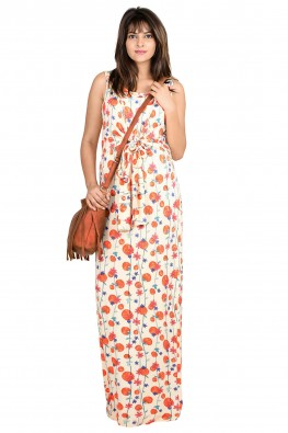 Cherry print knotted casual nursing dress