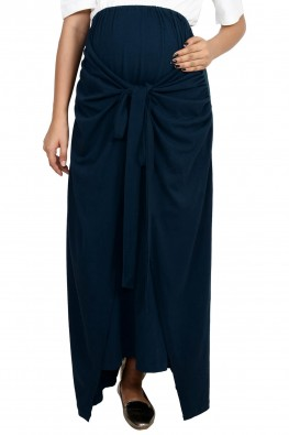Draped knotted maternity skirt