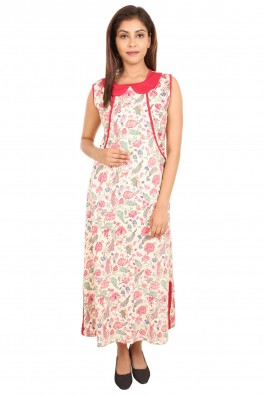 Ethnic floral nursing nighty
