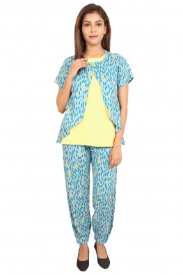 Fish-print front-open nursing nightsuit set