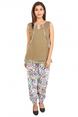 Olive & floral nursing loungewear set